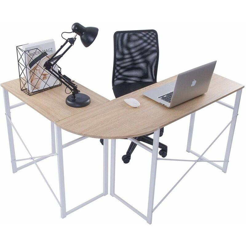 Mercatoxl - L-Form Schreibtisch Computertisch Arbeitstisch Holz Stahl Hell