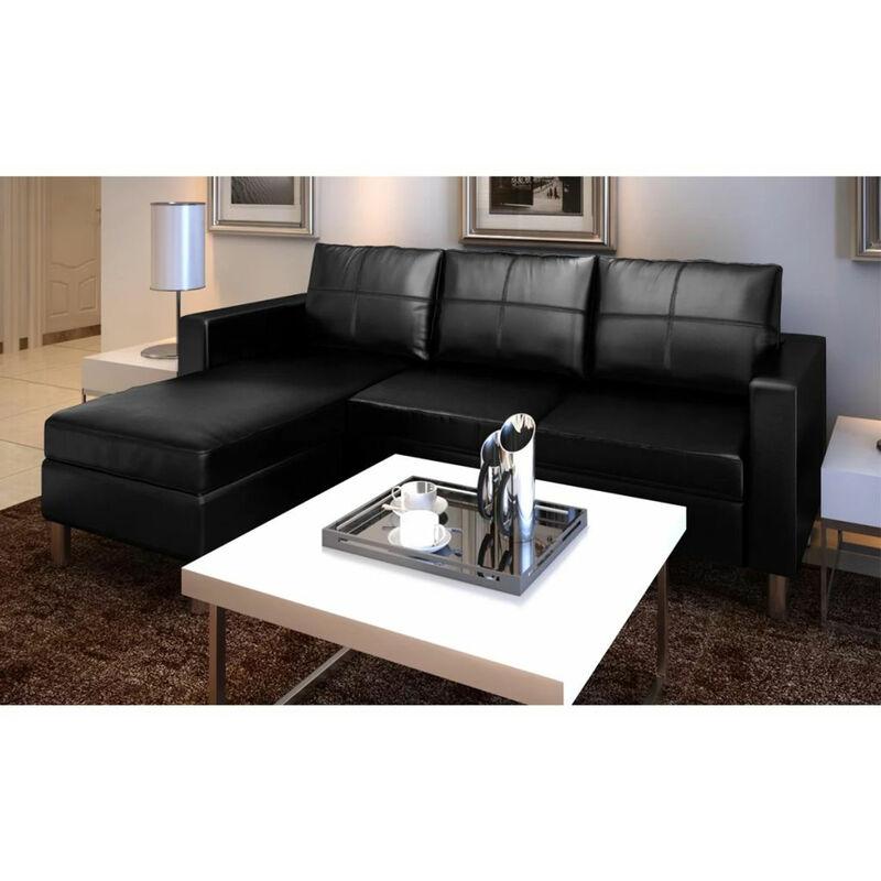 L-Formiges Sofa 3-Sitzer Kunstleder Schwarz