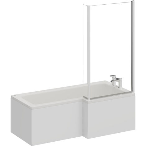 L Shape 12 Jet Chrome Easifit Spa Whirlpool Shower Bath 1700mm with Screen and Panel RH