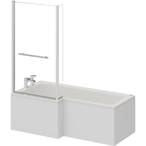 L Shape 12 Jet Chrome Easifit Spa Whirlpool Shower Bath 1700mm with Towel Rail Screen and Panel LH