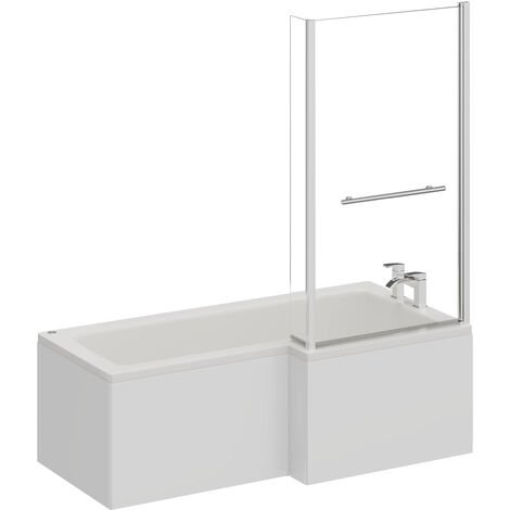 L Shape 12 Jet Chrome Easifit Spa Whirlpool Shower Bath 1700mm with Towel Rail Screen and Panel RH