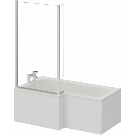 L Shape 1500mm Left Hand Shower Bath with Shower Screen and Panel