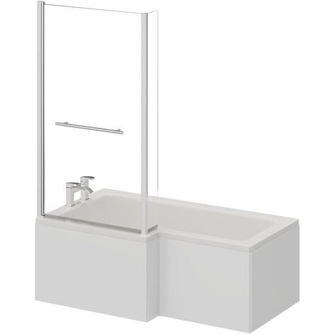 L Shape 1500mm Left Hand Shower Bath with Towel Rail Shower Screen and Panel