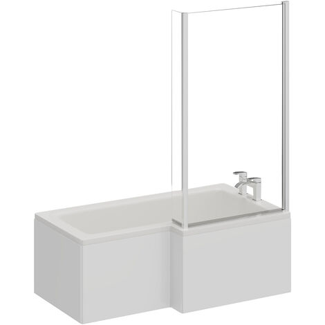 L Shape 1500mm Right Hand Shower Bath with Shower Screen and Panel
