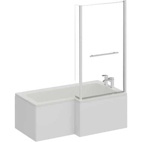 L Shape 1500mm Right Hand Shower Bath with Towel Rail Shower Screen and Panel