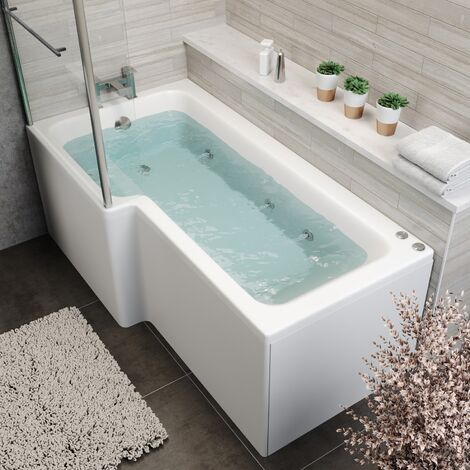 L Shape 1700 x 850mm LH Whirlpool Jacuzzi Bath Vitura 6 Jets Screen Front Panel