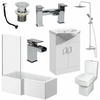 L Shaped Bathroom Suite 1600 LH Bath Screen Basin Vanity Unit WC Shower Taps
