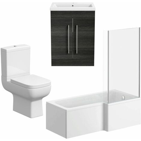 L Shaped Bathroom Suite LH 1600 Bath Screen Toilet Basin Sink Vanity Charcoal