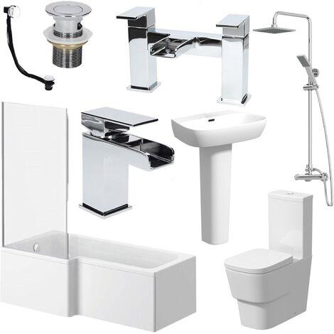 L Shaped Bathroom Suite LH Bath Screen Basin Toilet Shower Set