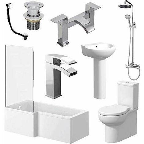 L Shaped Bathroom Suite LH Bath Screen Basin Toilet Shower Set