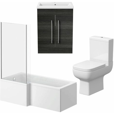 L Shaped Bathroom Suite RH 1500 Bath Screen Toilet Basin Sink Vanity Charcoal
