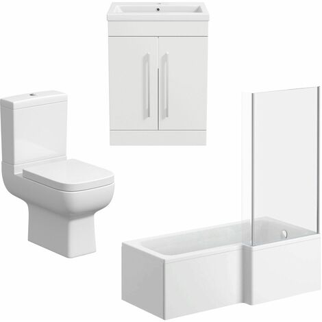 L Shaped Bathroom Suite RH 1500 Bath Screen Toilet Basin Sink Vanity Unit White
