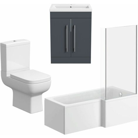 L Shaped Bathroom Suite RH 1600 Bath Screen Toilet Basin Sink Vanity Grey Gloss