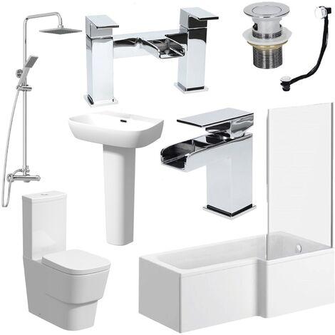 L Shaped Bathroom Suite RH Bath Screen Basin Toilet Shower Set