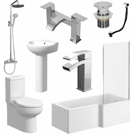 L Shaped Bathroom Suite RH Bath Screen Basin Toilet Shower Set