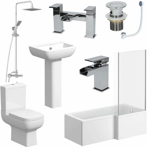 L Shaped Bathroom Suite RH Bath Screen Shower Toilet Basin Tap