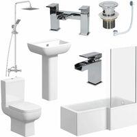L Shaped Bathroom Suite RH Bath Screen Shower Toilet Basin Tap