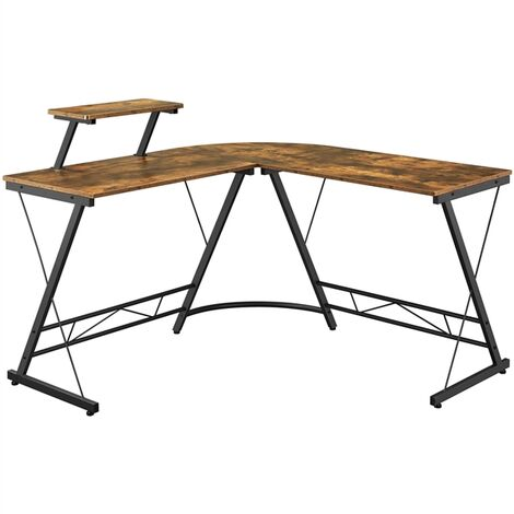 L-Shaped Computer Desk with Monitor Stand Computer Corner Desk for Gaming/Writing/Home Office Rustic Brown