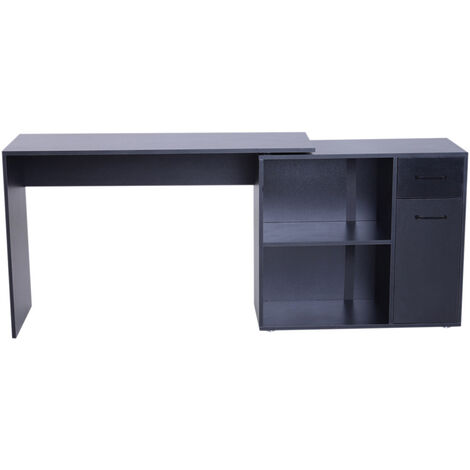 L-Shaped Corner Computer Desk PC Laptop Table Storage Shelf w/Drawer