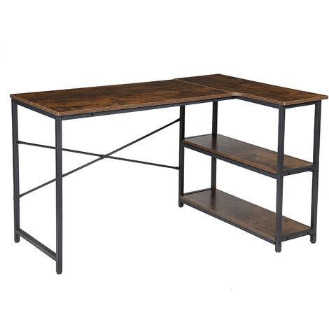 L-Shaped Corner Desk 120*80cm*72cm Retro Brown with 2 Shelves Gaming Computer Workstation