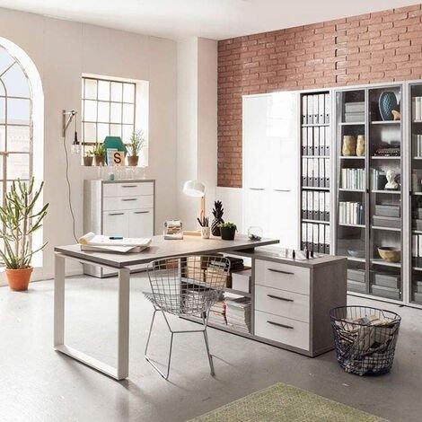 L-Shaped Corner Office Desk with Drawers for Home and Office RAFFAELLO