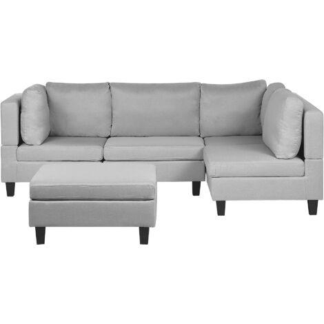 L Shaped Modern Modular 4 Seat Corner Sofa Ottoman Polyester Fabric Light Grey Fevik