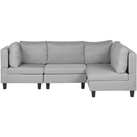 L Shaped Modern Modular 4 Seat Corner Sofa Polyester Fabric Light Grey Fevik