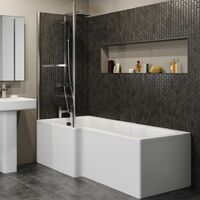 L Shaped Shower Bath Left Hand Bathtub 1700mm Screen with Rail Front & End Panel