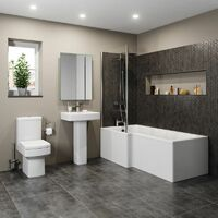 L Shaped Shower Bath Left Hand Glass Shower Screen Acrylic 1700mm