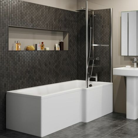 L Shaped Shower Bath Right Hand Bathtub 1700 Screen with Rail Front & End Panel