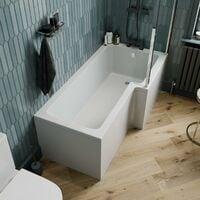 L Shaped Shower Bath Right Hand Glass Shower Screen Acrylic 1700