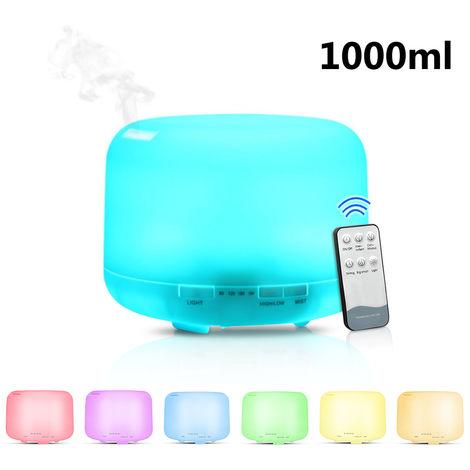 La aromaterapia remoto Control de 1000ml Ultrasonidos humidificador de aire del aroma del difusor del aceite con 7 color LED luz de la noche de los hogares electrico