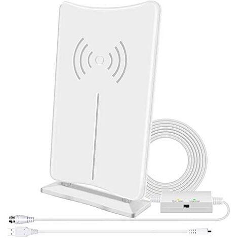 La dernière antenne TV HD en 2020, antenne TV HD numérique intérieure amplifiée FiveVG réception longue distance 160 miles, avec amplificateur de signal amplifié, prend en charge les chaînes locales 4K HD UHF VHF, équipée de 16,5 pieds de câble coaxial