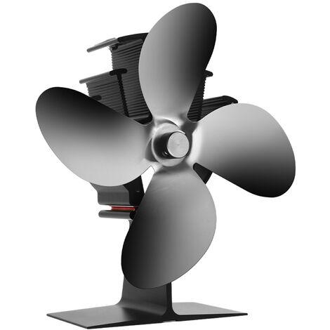 La estufa de calor del ventilador accionado 122 ¡ã F Inicio 4 Cuchillas para Hogar de madera del registro Chimenea de circulacion caliente ahorro de aire combustible de manera eficiente, Negro