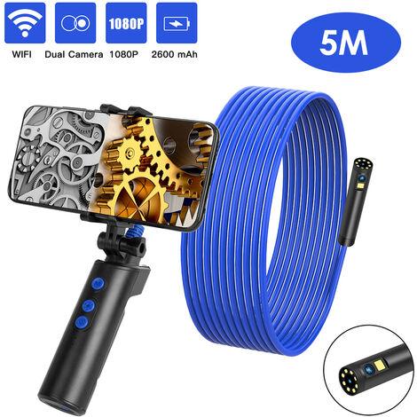 La fidelidad inalambrica Conectado Camara Industrial Endoscopia de Inspeccion endoscopio doble, 5m alambre duro, Azul