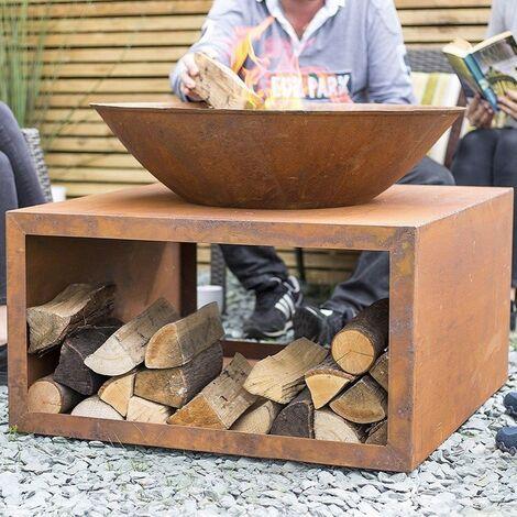 "main image of ""La Hacienda 58263 Oxidised Moho Fire Pit Basket Bowl Steel Outdoor Log Store"""