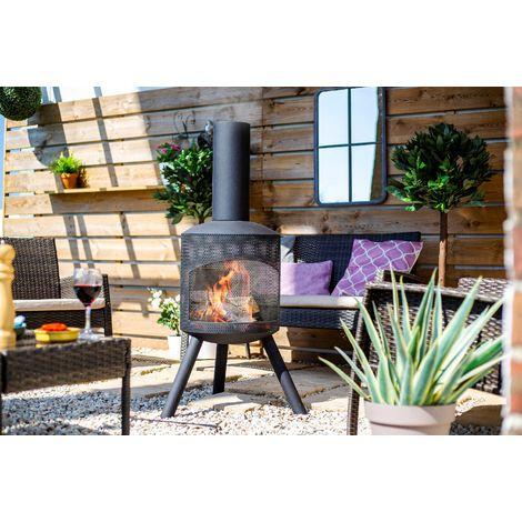 La Hacienda 60542 Deluxe Firepit Cover Grey//Black