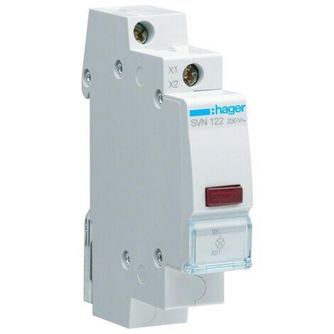 La lámpara indicadora de Hager DIN 1 Módulo 230V Rojo SVN122