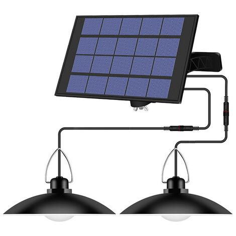 La luz accionada solar colgantes con ajustable panel automatico ON / OFF de iluminacion del sensor colgantes IP65 resistente al agua de la lampara para exterior / interior jardin Patio patio de almacenamiento, blanco caliente, de 4 cabezales