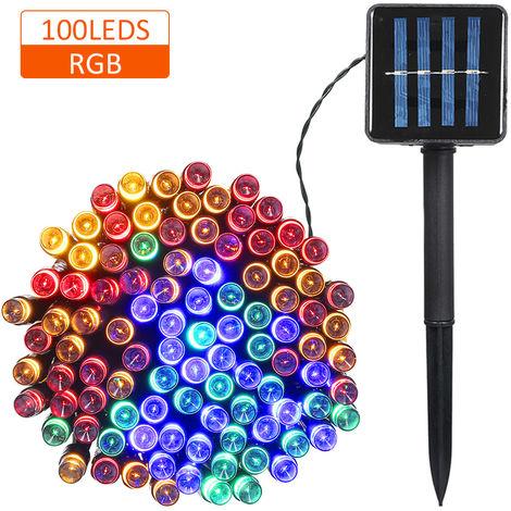 La luz accionada solar de cuerda, 100 LEDs, 2 modos de iluminacion, colorido