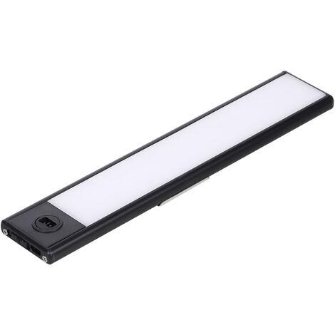 La luz del sensor de deteccion de luz LED recargable para Armario Gabinete luz sin hilos del guardarropa por un armario de la cocina 6000K de carga USB Armario de barras luminosas de 3 modos, 20cm Negro