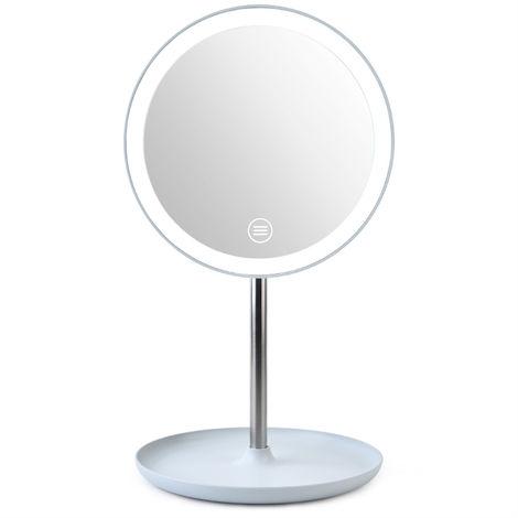 La luz LED de la moda de maquillaje Espejo Lampara de mesa 360 ¡ã de rotacion de belleza brillo ajustable del espejo cosmetico, azul
