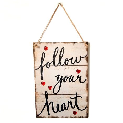 La pared del estilo de la vendimia colgante de madera hecha a mano Decoracion Junta signo Puerta rustica Decoracion placa de soporte colgante de vacaciones de San Valentin regalo, tipo 3