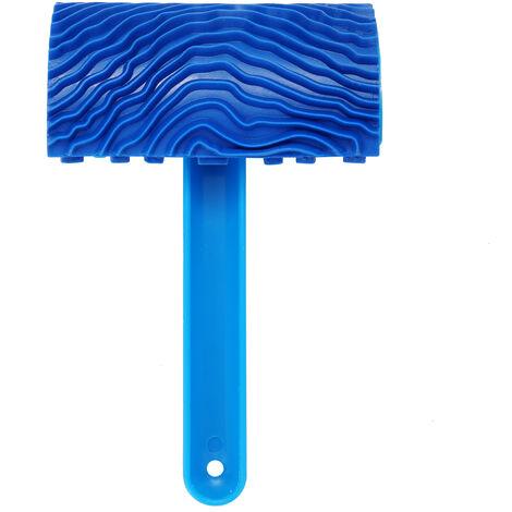 La pintura de caucho azul imitacion de madera del grano pared pincel de pintura Herramienta de pared de madera de textura de grano Pintura Herramienta con mango