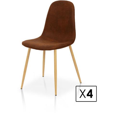 La Silla Española - Pack de cuatro sillas de comedor estilo nórdico con asiento y respaldo en tela modelo Alberca en color avellana