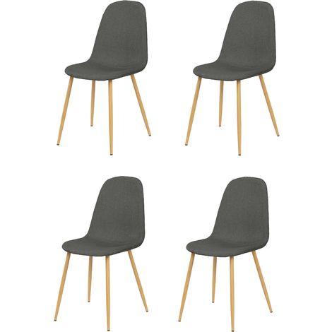 La Silla Española - Pack de cuatro sillas de comedor estilo nórdico con asiento y respaldo en tela modelo Alberca en color pizarra