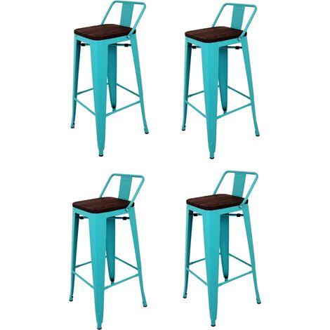 La Silla Española - Pack de cuatro taburetes cuadrados de metal estilo Tólix con respaldo en color turquesa y asiento en madera de color oscuro