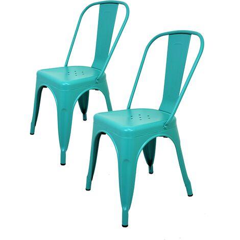 La Silla Española - Pack de dos sillas cuadradas estilo tólix con respaldo en color turquesa