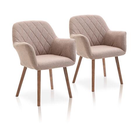 La Silla Española - Pack de dos sillas de comedor estilo contemporáneo con asiento y respaldo fabricado en tela modelo Alcázar en color arena
