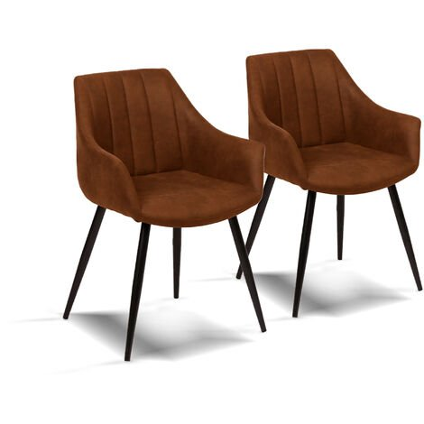 La Silla Española - Pack de dos sillones de comedor estilo industrial con asiento y respaldo microfibra modelo Covadonga color marrón avellana